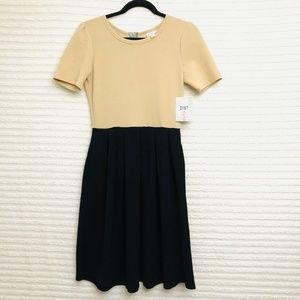 LuLaRoe Amelia Khaki Black Color Block Dress